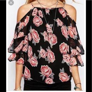 asos cold shoulder vintage floral top